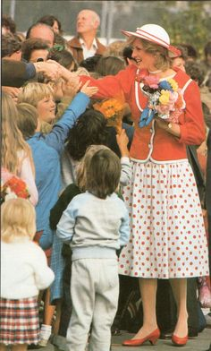 princess diana in red coat dress wales | Princess Diana, One Day One Dress: 14th April 1983, Melbourne ...
