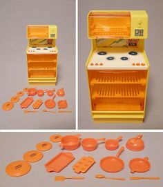 Vintage 1978 Mattel Barbie Doll Dream House Kitchen Stove Oven Pots Pans | eBay