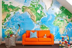Perfect to cover up the orange wall...  Vann is obsessed with maps.