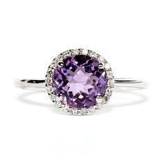 White gold amethyst and diamond ring. $449.00 #amethyst #birthstone_ring #hudson_poole_jewelers    birthstone again!