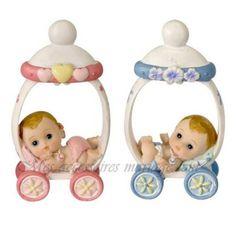 Figurine Sujet Baptême Rose ou Bleu bébé Poussette et Tétine  par Un Jour Spécial : accessoires & décorations de mariage