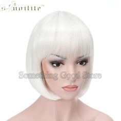 Women Halloween Short Synthetic Hair Straight Full Bob Wigs Style for Cosplay Party