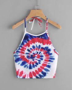 Spiral Tie Dye Print Tie Halter Top - www.anabellas.co #anabellas #top #cuellohalter #tirantes #espaldadescubierta #estampado