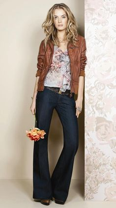flouncy top and leather jacket