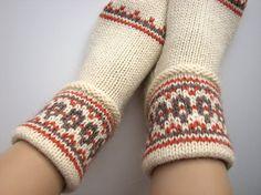 Hand Knitted Women's Patterned Socks  100% Natural Wool by milleta on Etsy www.etsy.com/shop/milleta