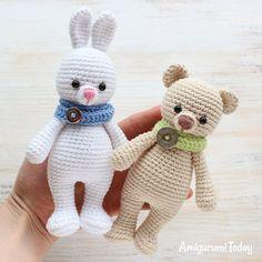 Cuddle Me Bear with Bunny - Patrones gratis de Amigurumi hoy