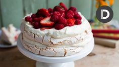 This brilliant summer dessert features a chewy, marshmallow meringue, which goes perfectly with cream and berries. You have GOT to try this one folks... Supe...