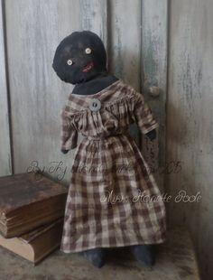 Primitive Black Folk Art Doll w/ Early Straw Stuffed Dog #NaivePrimitive #Artist