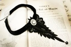 lace necklace MARILYN black by tinaevarenee on Etsy, $45.00
