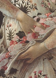 Sandro Botticelli, Primavera (detail), ca. 1482 blooms spilled from her lap Renaissance Kunst, Renaissance Paintings, Art And Illustration, Art Ancien, Classical Art, Italian Art, Detail Art, Old Art, Oeuvre D'art
