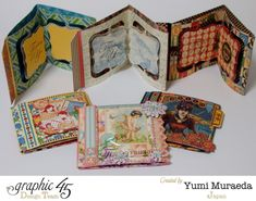 Graphic 45 Cards on Parade by Yumi using lots of G45 collections #graphic45
