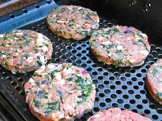 Turkey, feta (or goat cheese) and spinach burgers.  A new favorite in my house. #akakimburgers