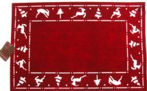 Set Of 4 Red Felt Christmas REINDEER Dinner Table Place Mats