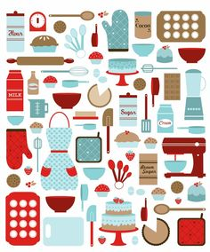 fun kitchen printable - love the colors!