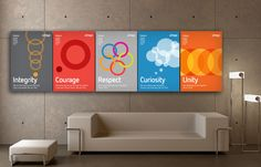 Citrix Values Posters Ndash The Online Portfolio Of Designer Corporate Office Design, Office Wall Design, Office Branding, Office Wall Decor, Office Walls, Office Interior Design, Office Interiors, Branding Design, Office Wall Graphics