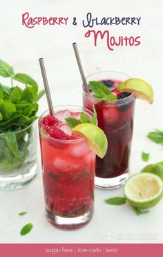 Low Carb Raspberry & Blackberry Mojitos - 13 irresistible low carb keto cocktail recipes. Keto alcohol drinks to let you enjoy a bit of booze without worrying about your diet. These keto cocktails include La Croix, vodka, rum, tequila and are all easy to make. #keto #ketoalcohol #ketogenicdiet #ketodrinks