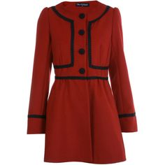 Red Braid Trim Coat ($44) ❤ liked on Polyvore