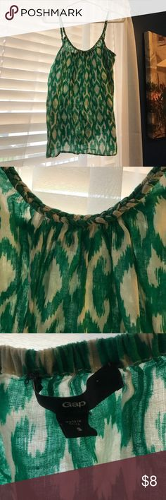 Gap Green Ikat Print Tank Gap green ikat print tank with braided adjustable straps. Cotton/linen blend. GAP Tops Tank Tops