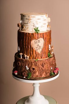 Woodland wedding cake rustic silver birch redwood and bark with toadstools and wild flowers. Created by Amber at www.littleascakery.co.uk
