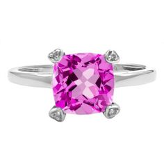 Cushion Cut Pink Sapphire Diamond Silver Simple Ring Gemstone Jewelry Available Exclusively at Gemologica.com