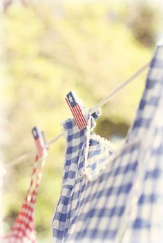 Summer days by lucia and mapp, via Flickr...blue gingham hanging on clothesline with american flag clothes pins