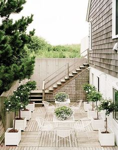 simple white and wood patio