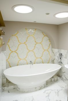 Bisazza yellow mosaic tiles in the bathroom. What do you think? Photography © David Giles All Rights Reserved