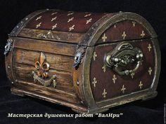 """Купить Шкатулка """"Флёр де Лис"""" - коричневый, изделия ручной работы, изысканный подарок"""