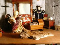 The solar. The fabulous dolls were made by my mother, Mary Middleton. The rug was made out of a toy animal and a scrap of fur. Norman Castle, Mother Mary, Pet Toys, Making Out, Dollhouse Miniatures, Castles, Solar, Rugs, Painting