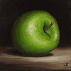 Granny Smith Apple, J Palmer Daily painting Original oil still life Art