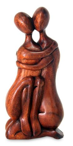 Wood statuette, 'Happy Couple' - Hand Crafted Romantic Wood Sculpture
