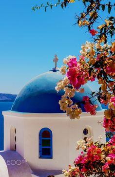 Church in Oia, Santorini, Greece Greece Photography, Travel Photography, Beautiful World, Beautiful Places, Travel Around The World, Around The Worlds, Places To Travel, Places To Visit, Greece Painting