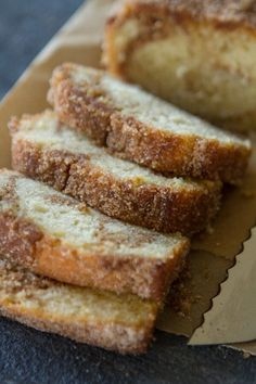 This Swirly Cinnamon Bread recipe is a cakey bread, baked until perfection and then dipped into butter and coated with cinnamon sugar! Perfect as a sweet breakfast treat or brunch - Cinnamon Swirl Donut Bread Cinnamon Recipes, Cinnamon Bread, Baking Recipes, Recipe With Cinnamon, Cinnamon Swirl Donut Bread Recipe, Butter Bread Recipe, Just Desserts, Delicious Desserts, Dessert Recipes