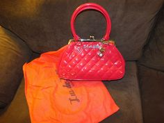 Lux De Ville Cherry RED Sin City Lock Kiss purse Pinup Vintage 50's rockabilly  #Luxdeville #purse