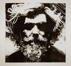 Former student, Thomas Shahan. Monotype-self portrait