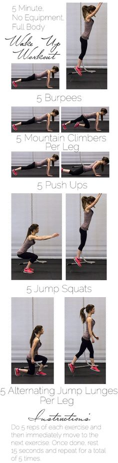 5 Minute , Do ANYWHERE workout with a VIDEO! - You don't need any equipment, and can do this in your PJS! A quick and easy workout that will burn calories all day long!   Foodfaithfitness.com   @FoodFaithFit