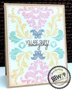 Jinny Newlin for Wplus9 featuring Damask Delight stamps and Quite Like You stamps.