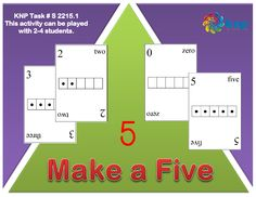 """""""Make a Five"""" - Find combinations of 5 without counting. Supports learning Common Core Standards: 0-K.OA.5, 0-K.OA.4 [KNP Task # S 2215.1]"""