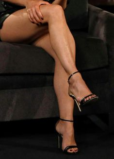 Black strappy high heeled shoes