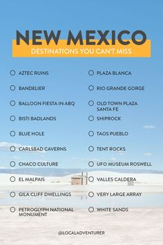 New Mexico Bucket List - 20 Things You Can't Miss // Local Adventurer newmexico usa bucketlist travel localadventurer unitedstories 662944007629121435 New Mexico Road Trip, Travel New Mexico, New Mexico Usa, Travel Advice, Travel Tips, Slow Travel, Travel Vlog, Travel Quotes, Travel Ideas