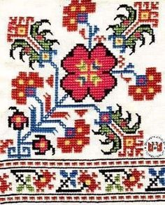 Traditional embroidery from the Vratsa region (Bulgaria). Folk Embroidery, Embroidery Patterns Free, Learn Embroidery, Cross Stitch Embroidery, Embroidery Designs, Cross Stitch Borders, Cross Stitch Designs, Cross Stitching, Cross Stitch Patterns