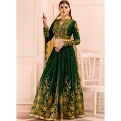 Emerald Green and Gold Embroidered Lehenga