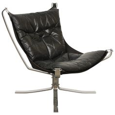 Black Leather Falcon Chair by Sigurd Ressell   From a unique collection of antique and modern lounge chairs at https://www.1stdibs.com/furniture/seating/lounge-chairs/