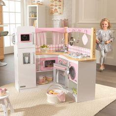 Cocina de juguete de madera para esquina modelo Gran Gourmet de la marca Kidkraft. Juguete de madera para niñas, robusto y sólido y con multitud de detalles.