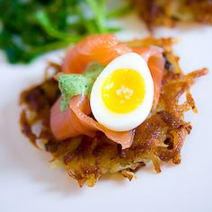 Potato Latke with Smoked Salmon, Soft-Boiled Quail Egg & Watercress Cream