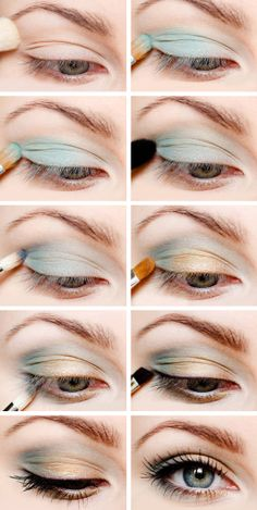 Mint & Gold Eye--for those who still want a light or neutral but don't wanna roll with the norm.