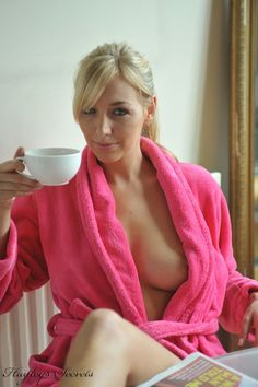 Morning coffee woman drinking naked