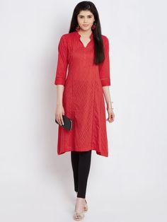 Buy Rangriti Women Red Woven Design A Line Kurta - Kurtas for Women | Myntra