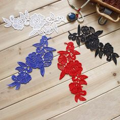Blue/red/ivory/black Lace Appliques,Embroidered Flowers,Patches For Wedding Supplies,Sew-on Bridal H Flower Motif, Flower Applique, Lace Flowers, Embroidered Flowers, Bridal Headdress, Mini Glass Bottles, Applique Wedding Dress, Sewing Appliques, Fabric Patch
