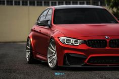 Satin Chrome Red BMW M3 with HRE P104 in Brushed Clear Bmw Angel Eyes, E90 335i, Bmw M Series, Series 4, Bmw Red, F80 M3, Bmw Love, Sports Sedan, Top Cars